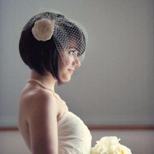 Wedding Updos Veil and Bob