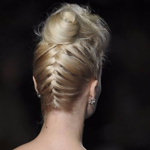 Wedding Updos Upside down French Braid with a Top Twisted Bun