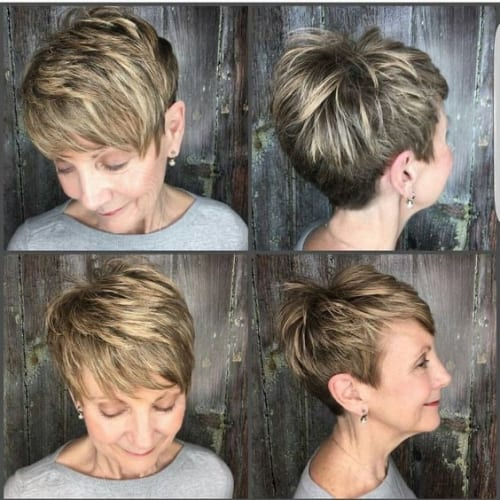 Blonde Highlights on Short Pixie Hair