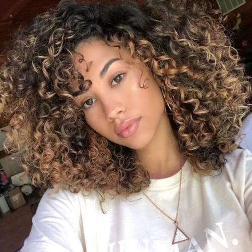 Caramel Blonde Highlights on Curly Hair