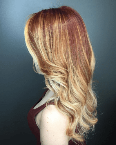 Chunky Red and Blonde Highlights