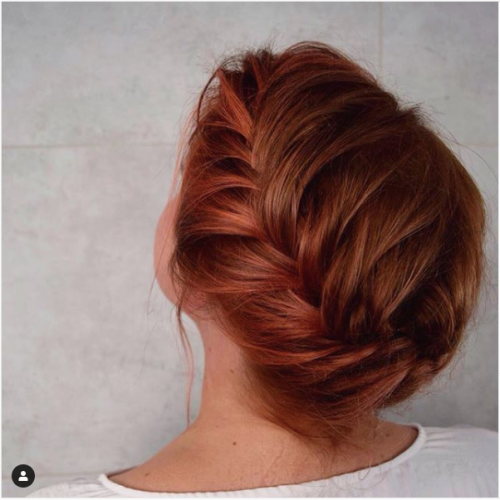braided copper brown hair