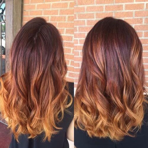 dark blonde balayage on thick red hair