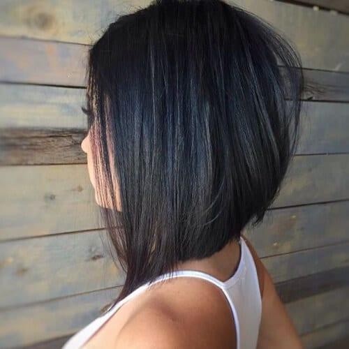 Brunette Stacked Angled Bob