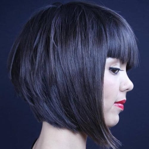 Long Stacked Bob with Bangs
