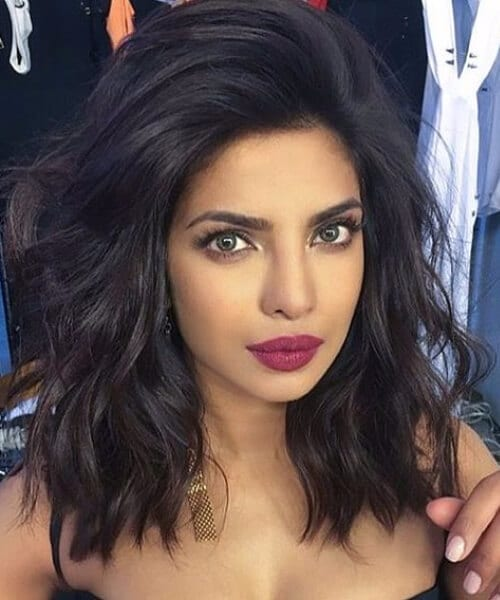 Priyanka Chopra voluminous wavy long bob short hairstyles`