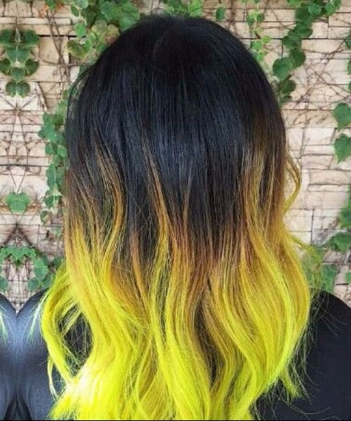 black to neon yellow ombre hair