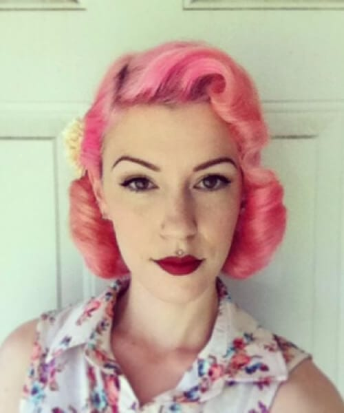 bubblegum pink pin up hairstyles