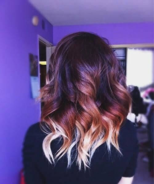 dramatic red and blonde ombre hair