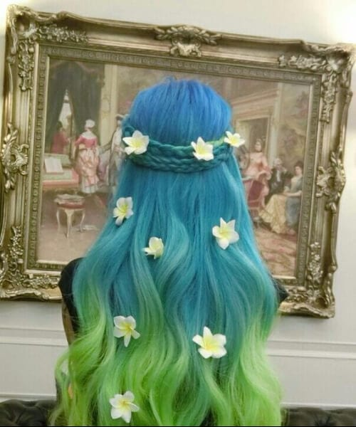 floral blue green ombre hair