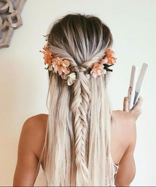 flower crown and braid long hairstyles