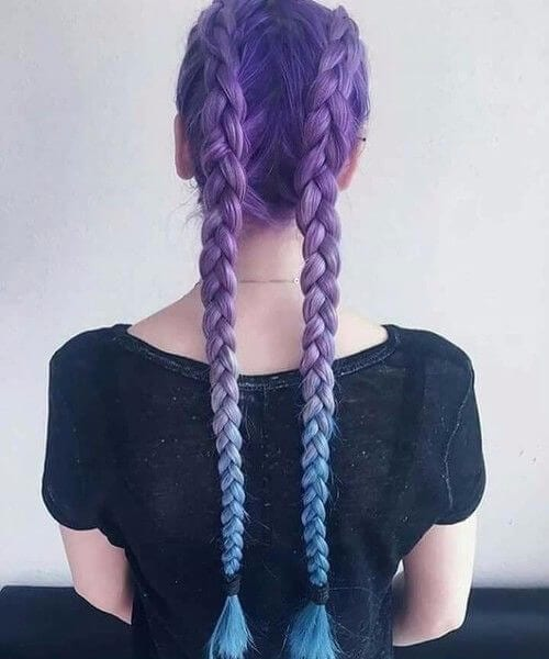 indigo lavender turquoise ombre hair