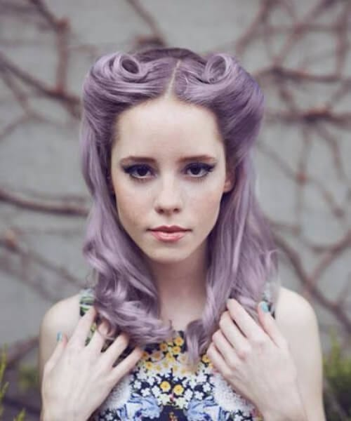 lavender victory rolls pin up hairstyles
