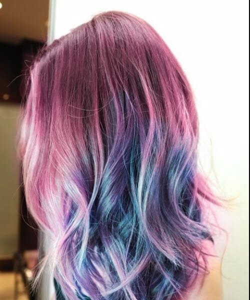 magenta to peacock green to cobalt blue ombre green