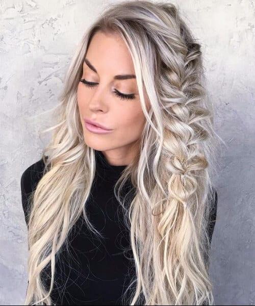 messy braid salt and pepper blonde hair