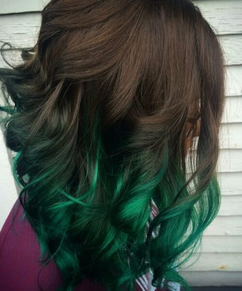 natural to moss green ombre hair