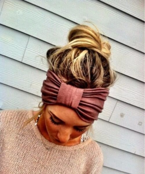 pink bow headwrap long hairstyles