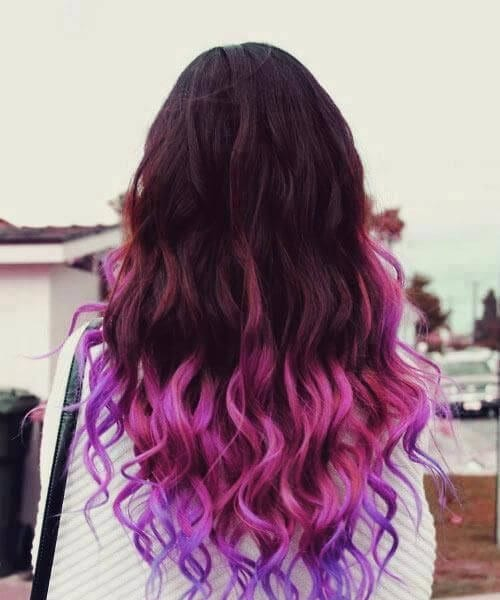purple lilac shades ombre hair