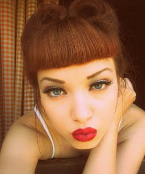 short heavy bangs pin up hairstyles