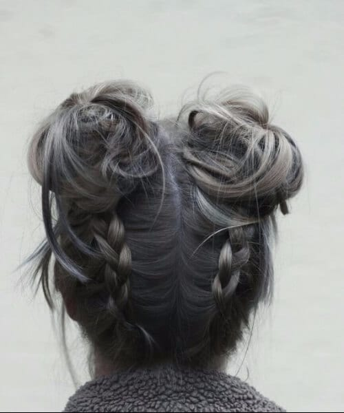 space buns and braids long hairstyles