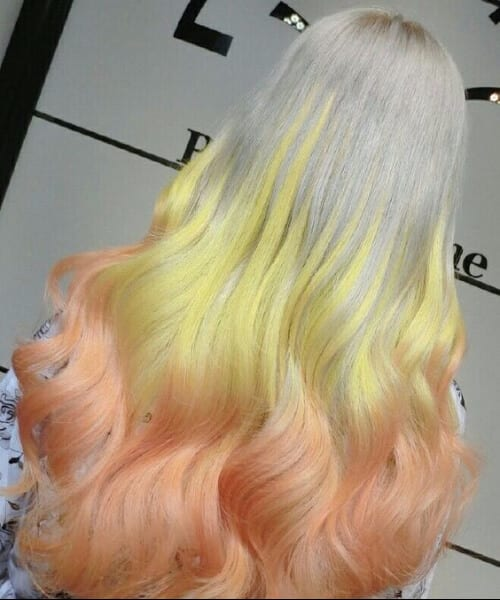 stone gray to comic yeallow to peach ombre hair