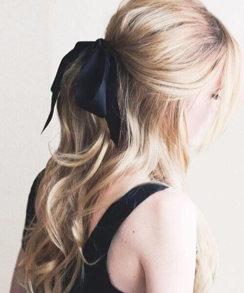 sweet black bow long hairstyles