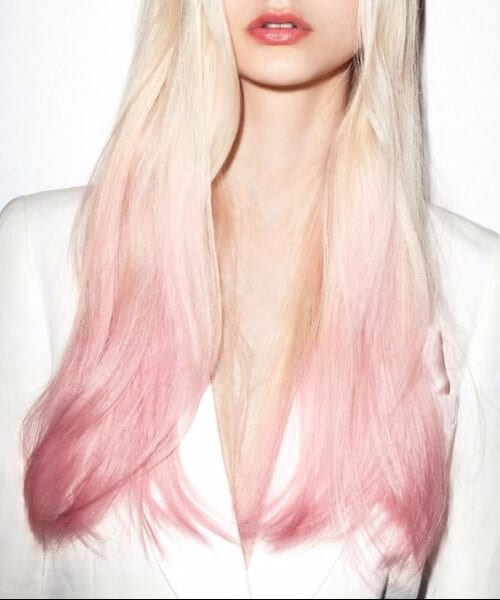 white to pink ombre hair