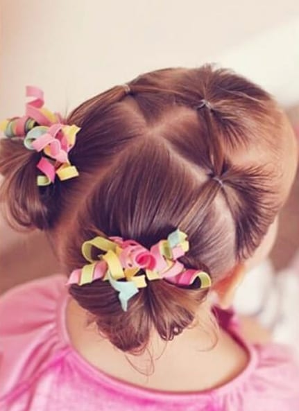 3 elastic a into pigtail messy buns little girl hairstyles