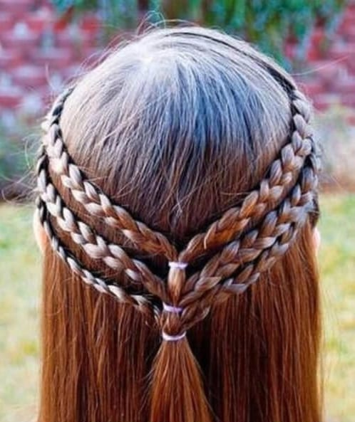 Triple braided half ups little girl hairstyles