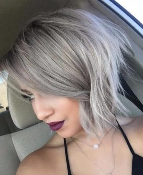 Ash Blonde Shaggy Bob hairstyles for thin hair