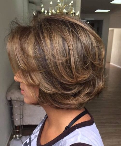 Long layered, piecy chunky chin length bob hairstyles for women over 40