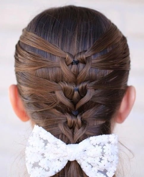 Mermaid Heart Braid Valentine's Day little girl hairstyles