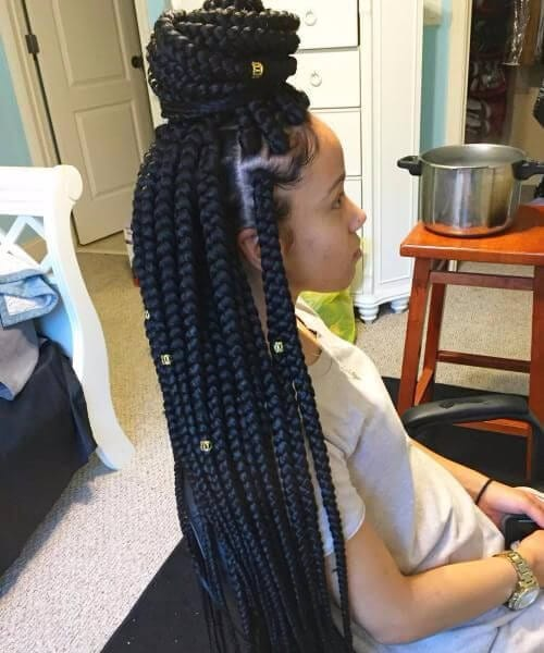 Side Cornrows and Kinky Twists black girl hairstyles