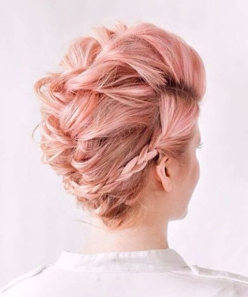 Teased French Braid hairstyles Faux Hawk Updo