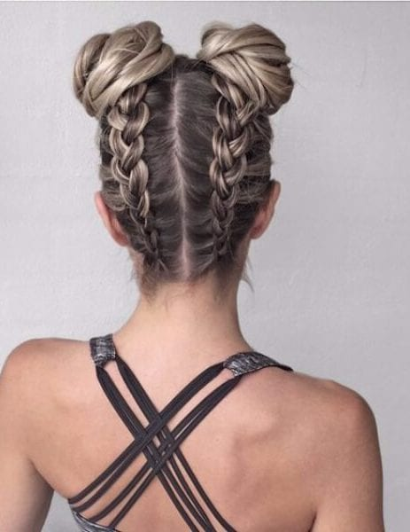 back braids and space buns french braid hairstyles
