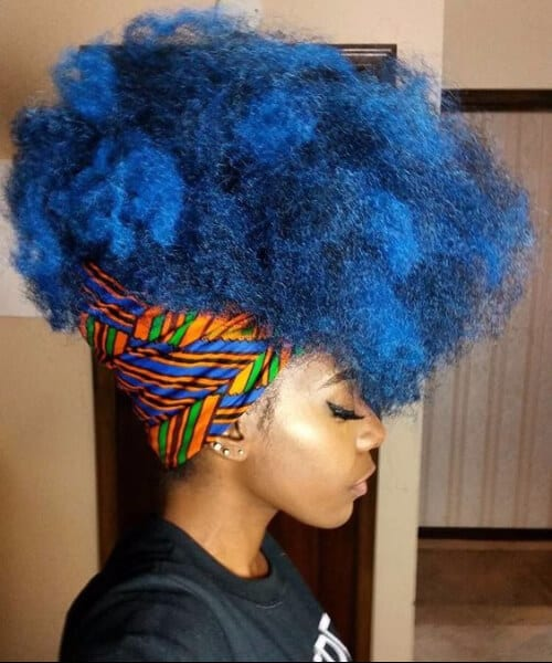 blue afro black girl hairstyles