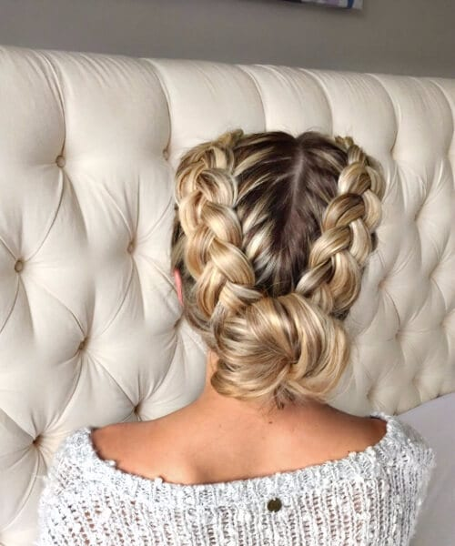 double french braid hairstyles bun