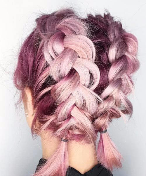 double purple french braid hairstyles