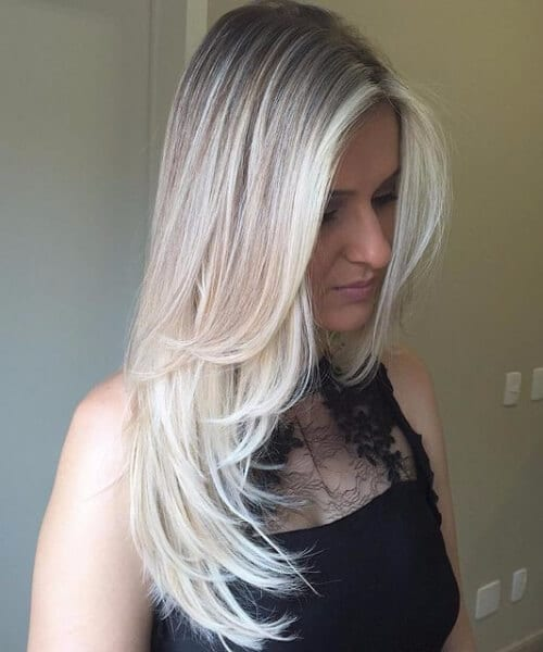 edgy silver blonde crop long hair shorter layers hairstyles for thin hair