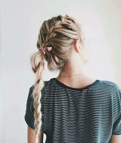 french braid hairstyles into simple plait with bow