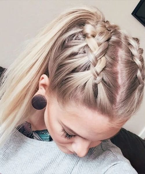 high school ponytail french braid hairstyles