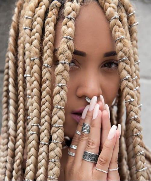jumbo blonde box braids black girl hairstyles
