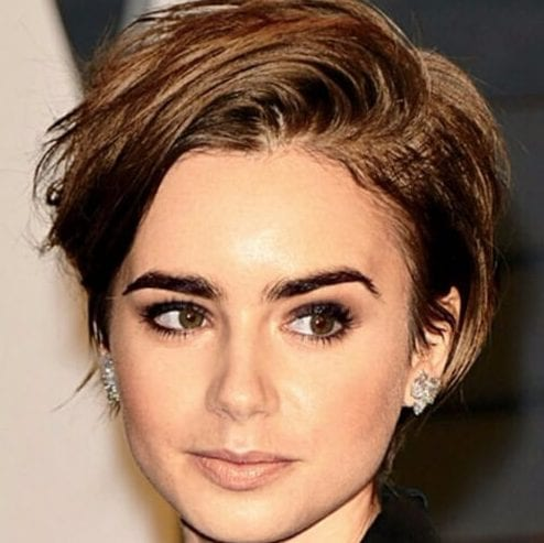 lilly collins long pixie cut