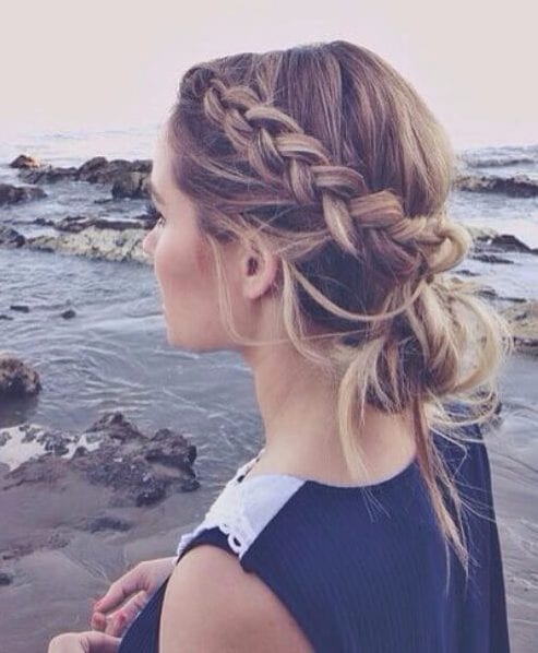 messy updo french braid hairstyles