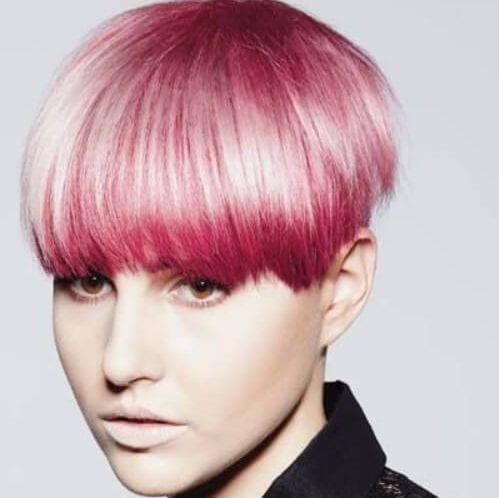 pink bowl long pixie cut
