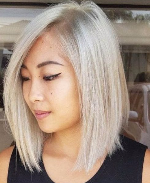 platinum shoulder length bob