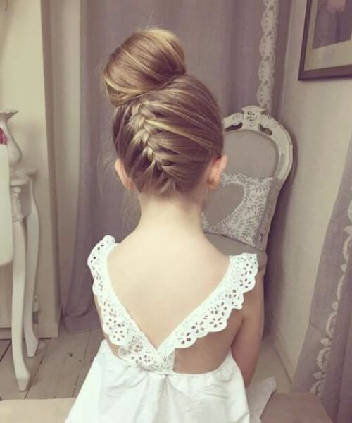 ribbon braid swirled into bun little girl hairstyles