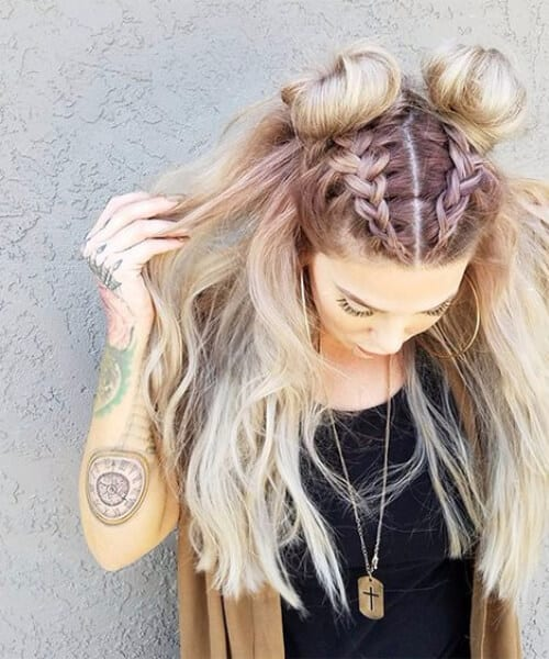 space buns french braid hairstyles