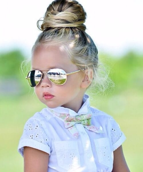top bun little girl hairstyles