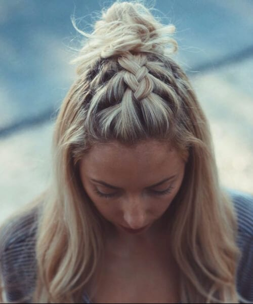 top knot french braid hairstyles